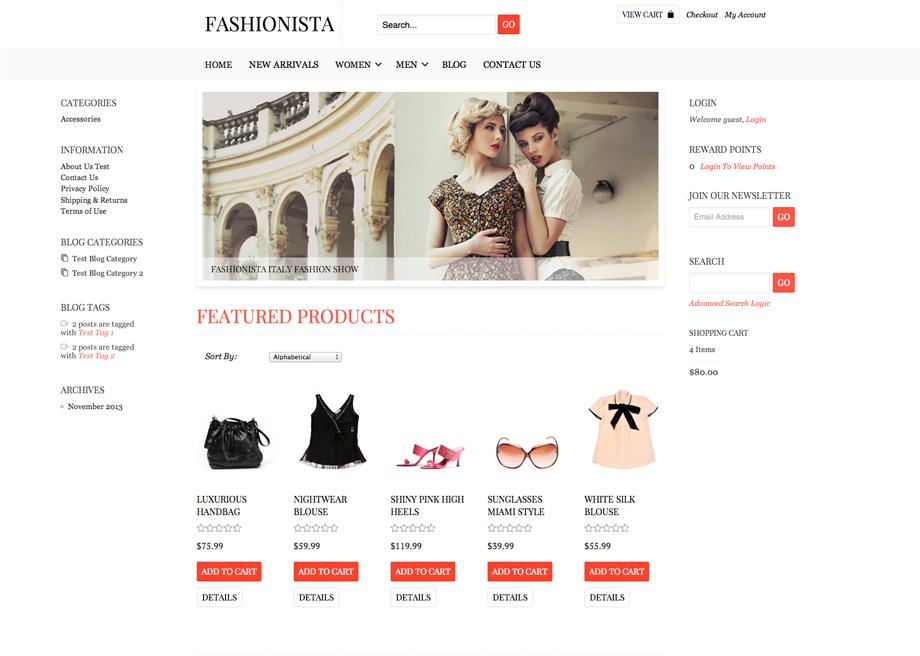 CoreCommerce Fashionista Theme