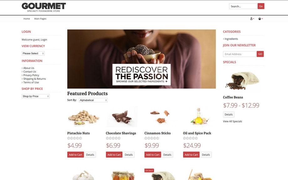 CoreCommerce Gourmet Theme