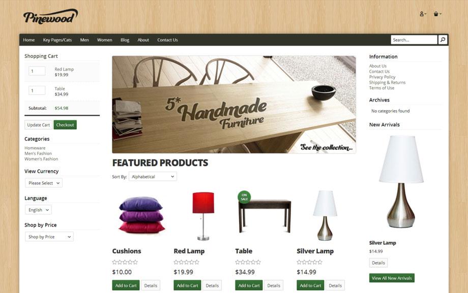 CoreCommerce Pinewood Theme